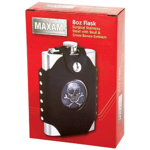 Maxam® 8Oz Skull & Cross Bone Flask