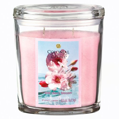 Pink Cherry Blossom 22 oz Scented Oval Jar Candle