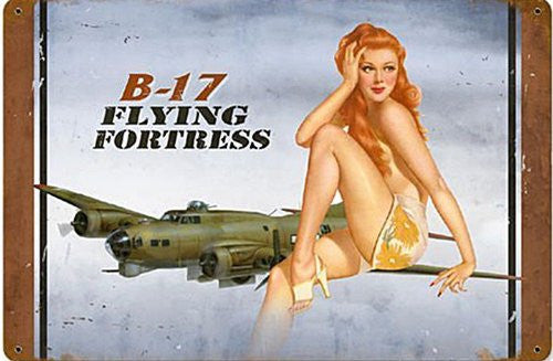 B-17 redhead vintage metal sign measures 18 inches by 12 inches