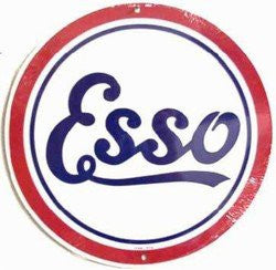 Tin Sign: Esso Gasoline Round Sign