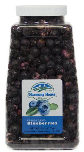 Harmony House Foods Freeze-Dried Blueberries, whole (4 oz, Quart Size Jar)