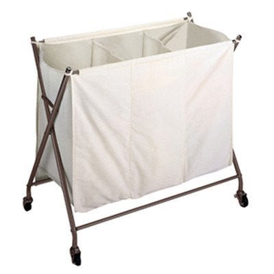 Laundry Metallic Bronze 3-bin Sorter w/ Rubber Wheels