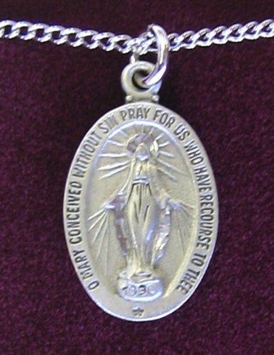 "Pewter Miraculous Medal 18"" Chain & Box"
