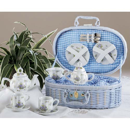 Porcelain Tea Set for 2/ Blue Basket, Swt Williams