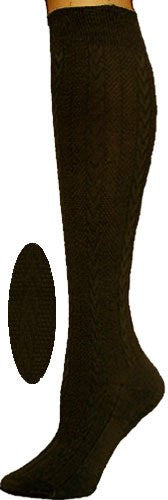 Knee High Socks - Textured Cable Knit - Chocolate