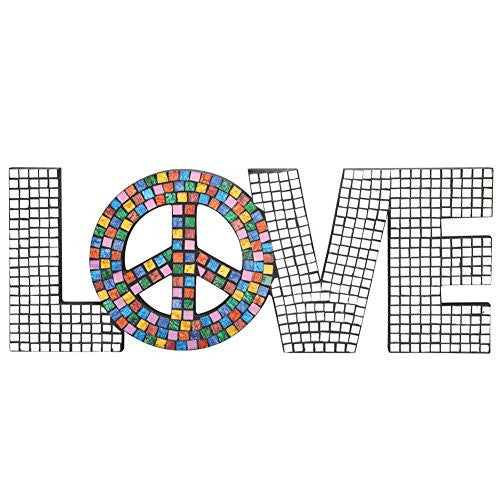 Mosaic Love With Peace Sign Plaque