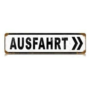 Ausfahrt vintage metal sign measures 20 inches by 5 inches