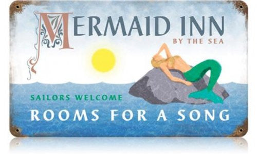 Mermaid Inn vintage metal sign measures 14 inches by 8 inches