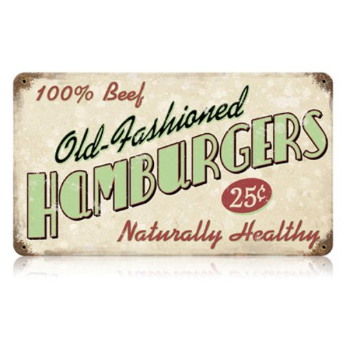 Old Fashioned Hamburgers vintage metal sign measures 14 inches by 8 inches