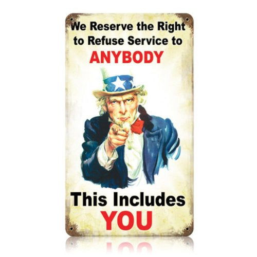 Refuse Service vintage metal sign measures 8 inches by 14 inches