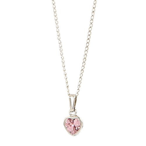 Elegant Baby Pink Cub Zirc Heart Necklace