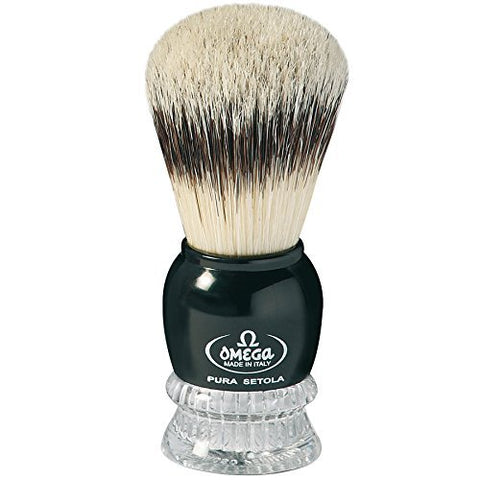 10275 Pure Bristle Shaving Brush, Plastic Handle, Black
