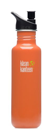 Klean Kanteen 27 -Ounce Classic Sport Cap 2.0 Stainless Steel Water Bottle, Commuter Orange