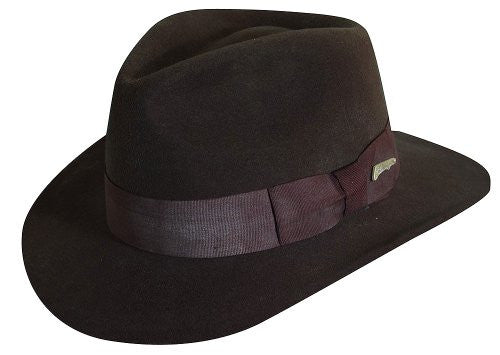 Indiana Jones Crushable Wool Felt Fedora Hats IJ559 (Brown / Medium)