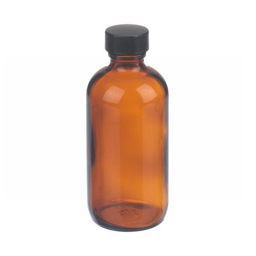 4 oz. Amber Glass Bottle with Black Cap