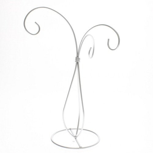 Silver Painted 3 Arm Ornament Stand