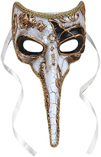 Long Nose Half Mask White/Gold
