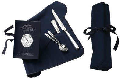 12-Piece Silver Cutlery Storage Roll (26 cm) Dark Blue
