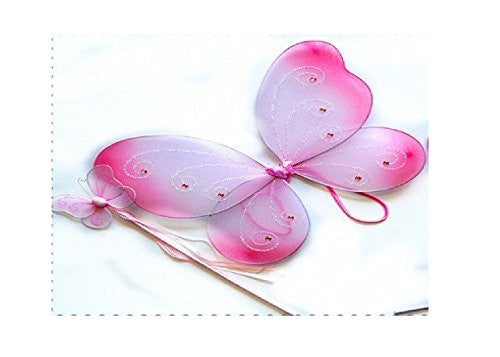 "2 Pcs Butterfly Wing Set. Color: Pink. Size 16"" (fits 2-5 years)"