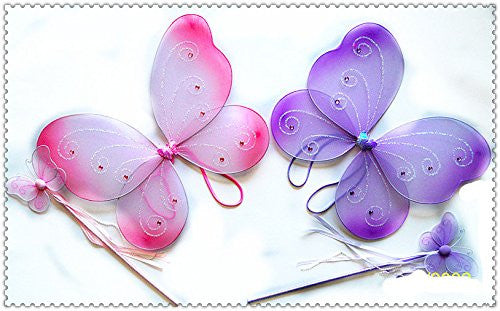 "2 Pcs Butterfly Set (Wing and wand). Color: Purple. Size 16"" (fits 2-5 years)"