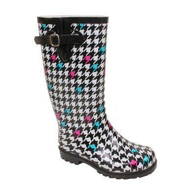 Nomad Women's Puddles Rain Boot,8 B(M) US,Blck/Wht Houndstooth