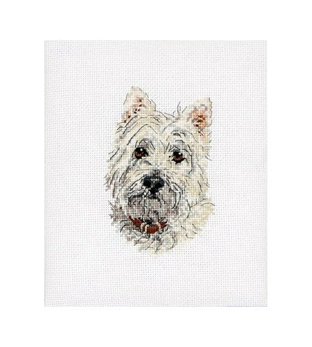 "Anchor Westie Mini Counted Cross Stitch Kit 4-3/4""X3"" 18 Count"