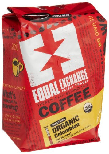 EQUAL EXCHANGE Fairly Traded Gourmet Whole Bean Coffee Colombian - 12 oz