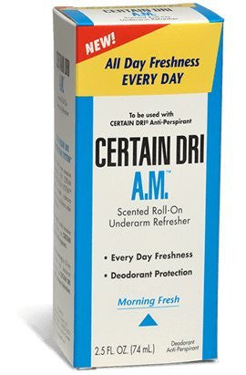 Certain Dri AM, 2.5 oz roll-on