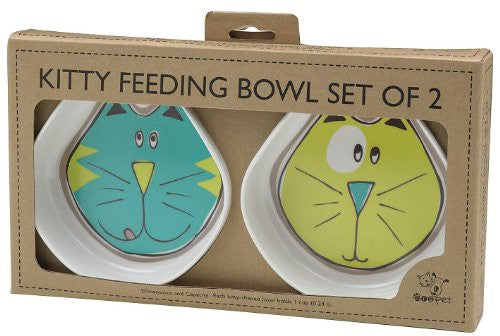 ORE Pet Comic Kitty Bowl Set - Blue & Green
