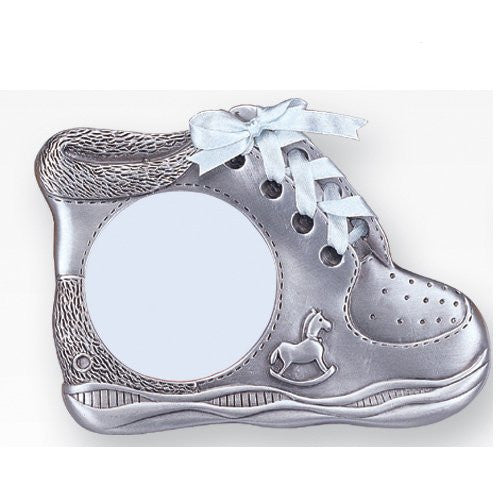 "3""x3"" Pewter Frame - Baby Boy Shoe"
