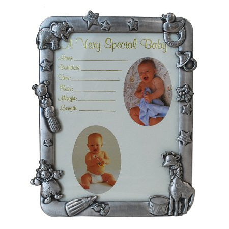 "6""x8"" Pewter Frame - A Very Special Baby with Giraffe"