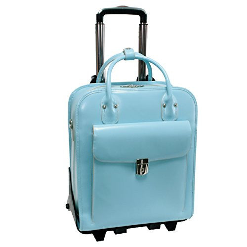 *LA GRANGE Leather Detachable‐Wheeled Ladies' Case [Zipper Frame] [PATENTED] Aqua Blue