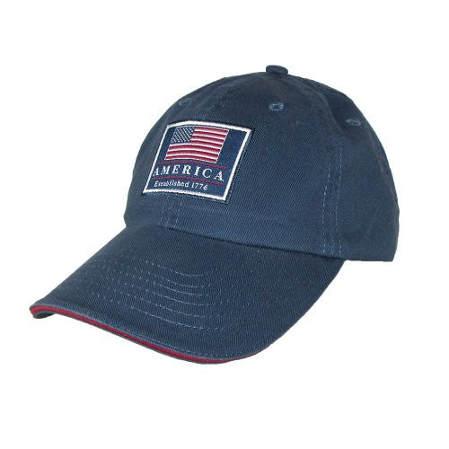 Scala Pro Baseball Caps Unstructured - Garment Washed Twill, Contrast Sandwich, Antique T-Side - Navy, One Size Fits Most