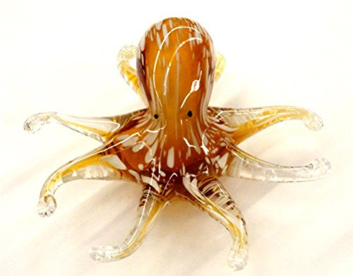 Brown/White Glass Octopus Figure