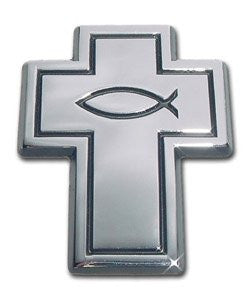 Christian Fish Chrome Auto Emblem (Cross w/Fish)