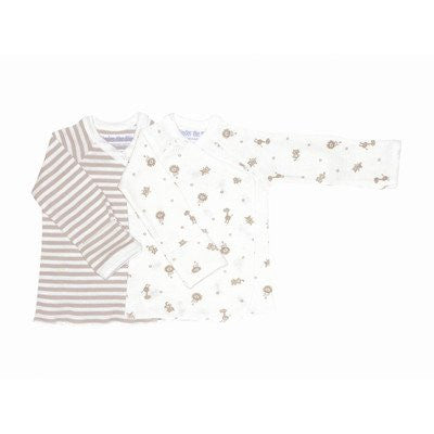Nature's Nursery Long Sleeve Side Snap Shirt in Tan Stripes (Size: 3-6 Months)