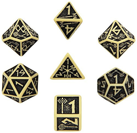 Beige & black Dwarven Dice (set of 7)