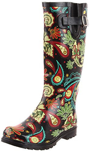 Puddles - Black Multi Paisley, Size 8 US