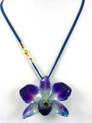 REAL FLOWER Purple Blue Orchid Leather Cord 18in