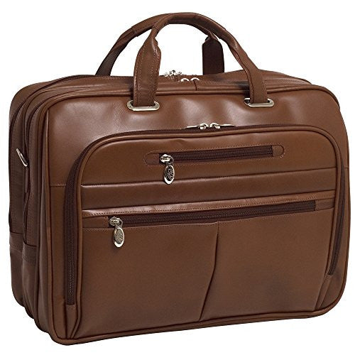 "ROCKFORD Leather Fly‐Through™ Checkpoint‐Friendly 17"" Laptop Case Brown"