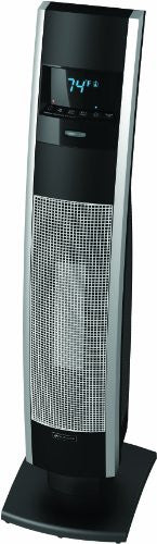 Bionaire Ceramic Tower Heater w/LCD, Black with Silver accents