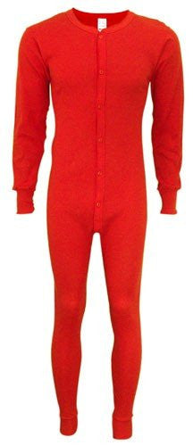Indera Mens Long Sleeve Union Suit Red 865 Regular Big Tall Extra Sizes (Red / Small)