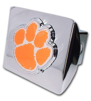 Clemson (Paw with color) Shiny Chrome Hitch Cover
