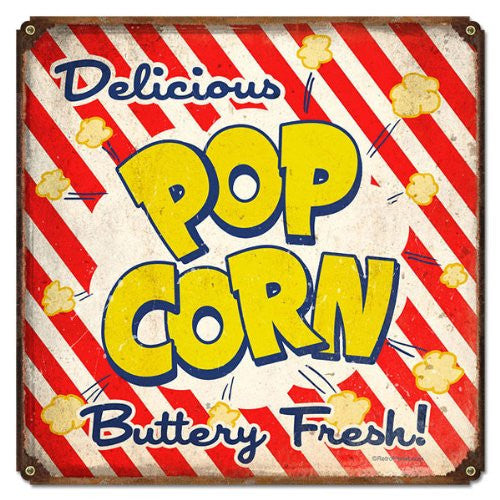 Pop Corn vintage metal sign measures 12 inches by 12 inches