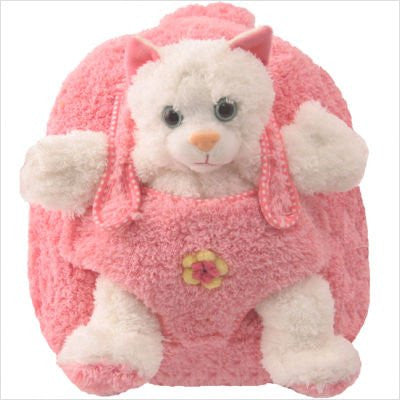 Plush Animal Backpack Cat w/ Pink