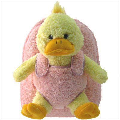 Plush Animal Backpack Duck w/ Pink
