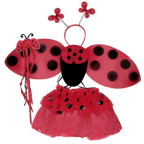 4 Pcs Lady Bug Set (Wing, wand, antenna and tutu).Color: Red. One size (fits 3-5 years)