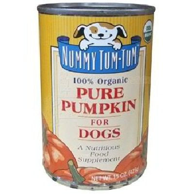 Nummy Tum Tum Canned Food Supplements For Dogs Pure Pumpkin for Dogs 100% Organic 15 oz