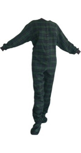 Big Feet Pajama's Navy/green Plaid (black Watch) Cotton Flannel Adult Footed Pajamas W/ Drop-seat (104) (large)