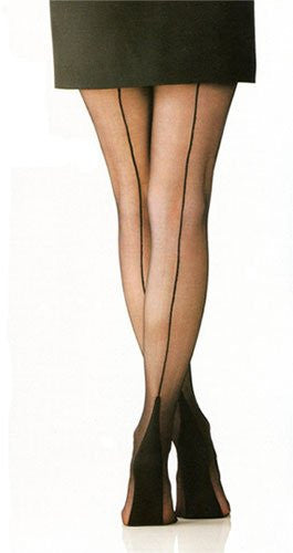 Textured Hosiery - Cuban Heel Backseam - Black - Plus Size